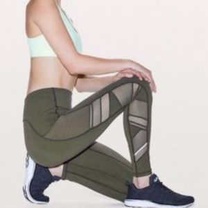 Lululemon Speed Up Olive Green with Mesh Accents